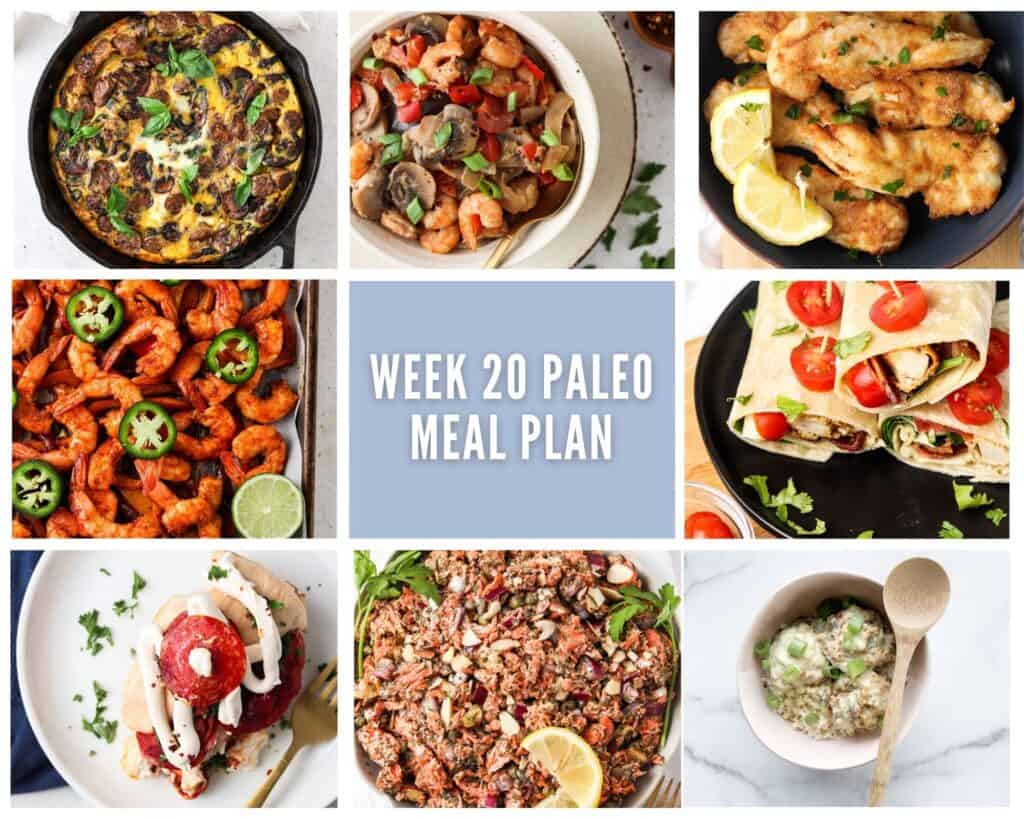 Photo collage of week 20 paleo meal plan of one breakfast and seven lunch or dinner options with pale purple accents