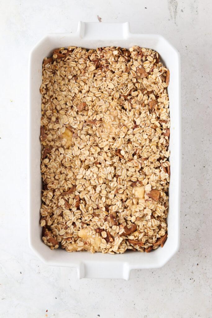 oatmeal bake in a baking dish
