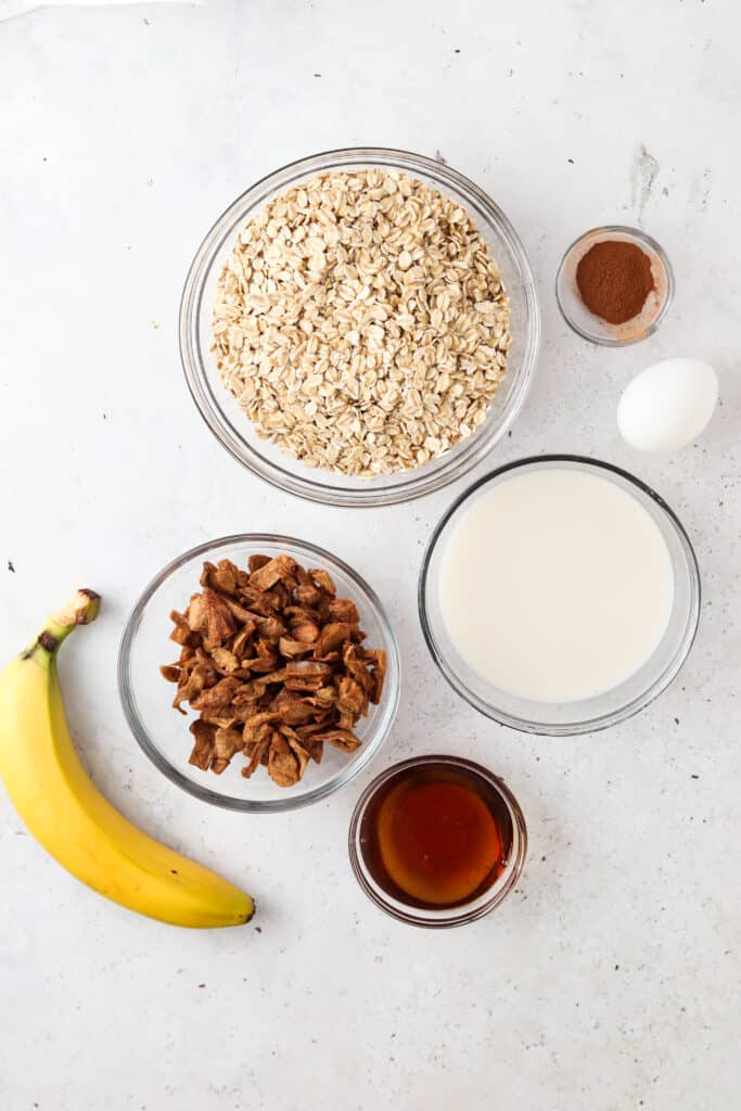 apple oatmeal bake ingredients laid out in a bowl
