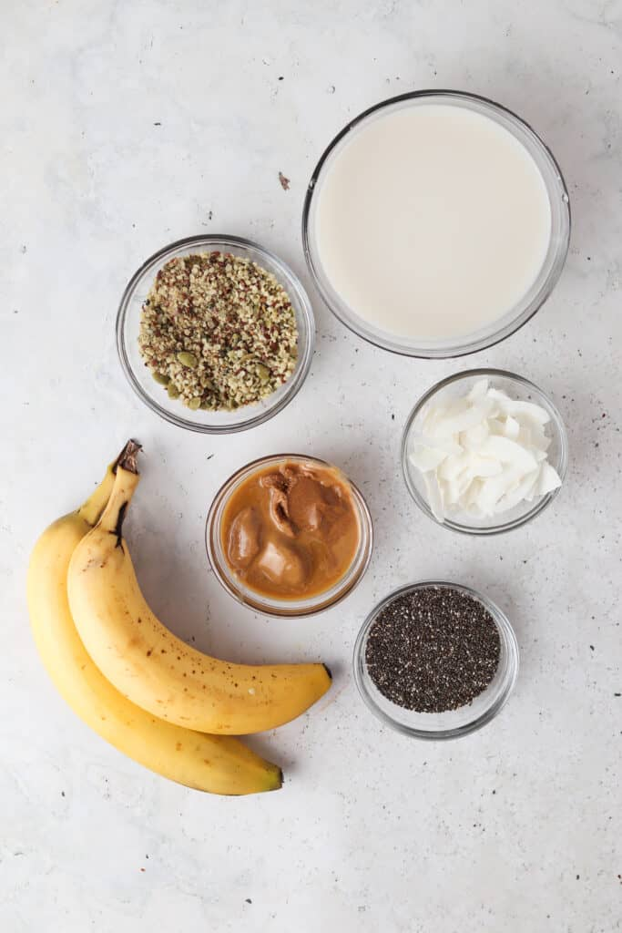 chia seed pudding ingredients laid out in bowls