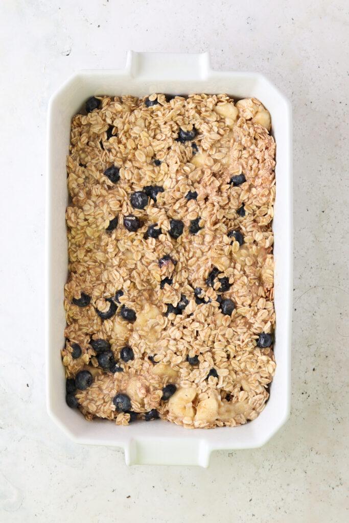 blueberry oat bake in a pan