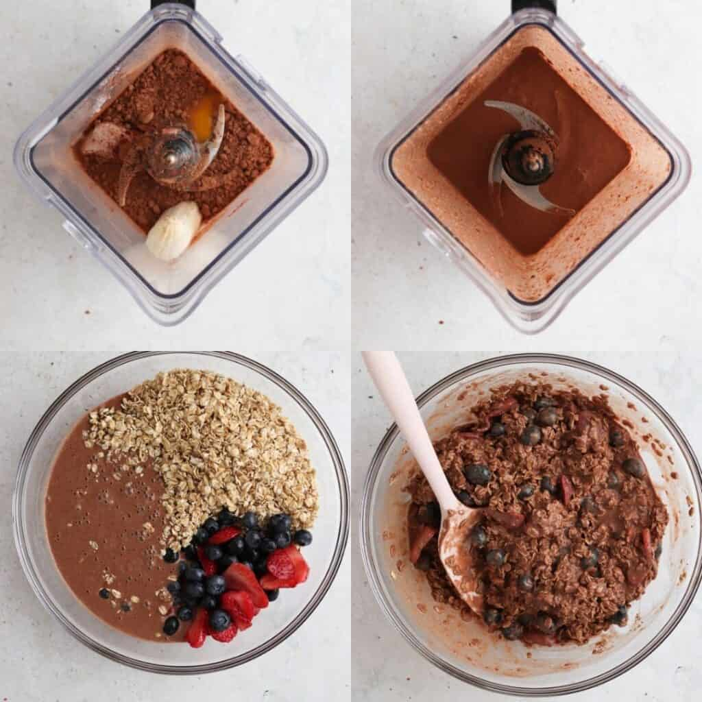 process shots how to make chocolate baked oats
