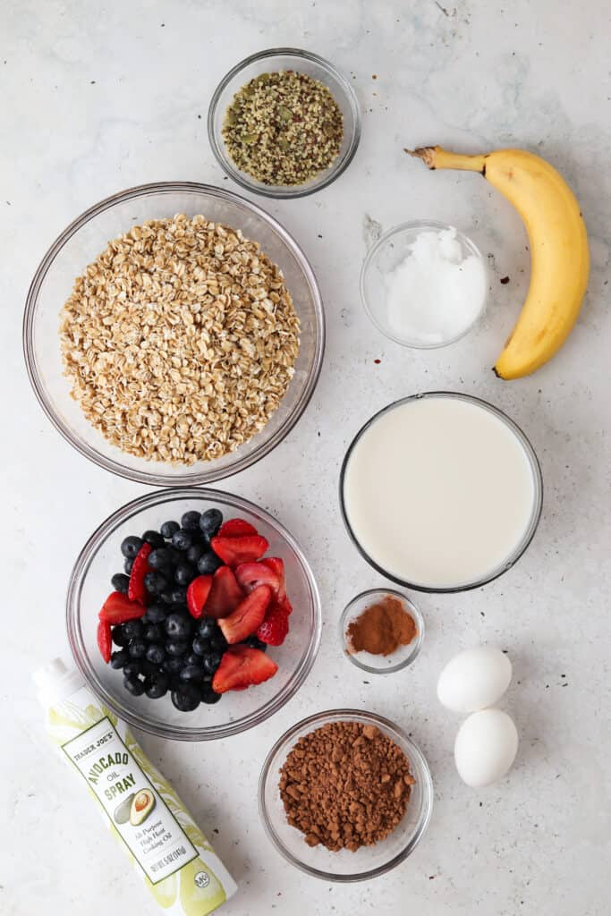 chocolate oat ingredients laid out