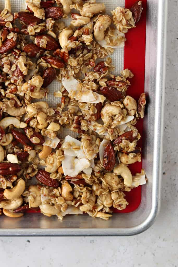 gluten free granola on a tray
