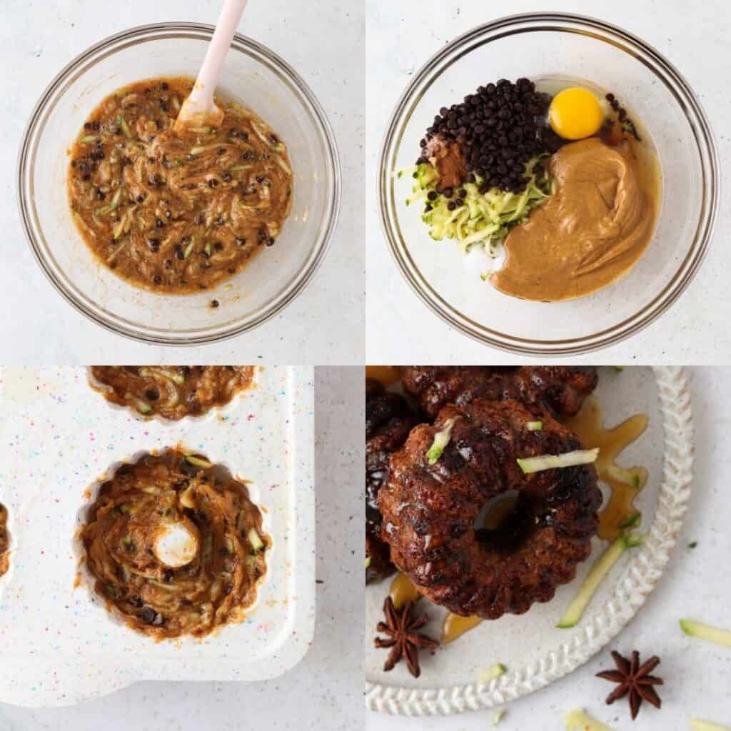 how to photos of how to make the paleo zucchini cakes