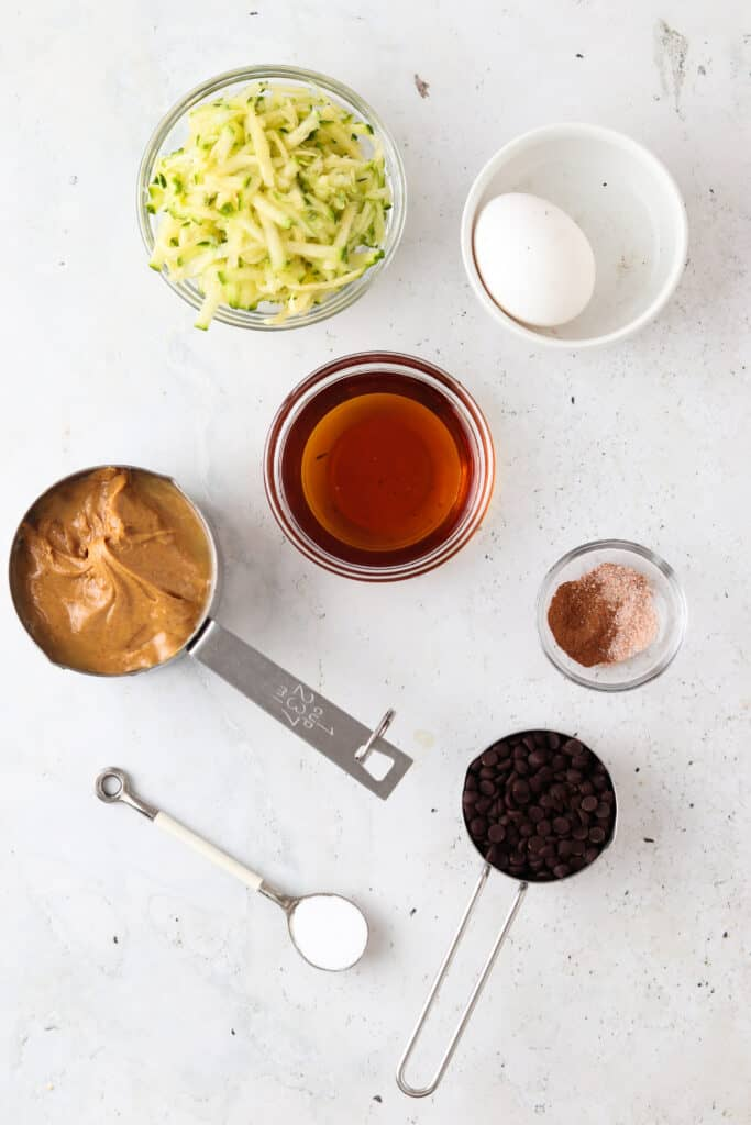 gluten free zucchini cake ingredients laid out