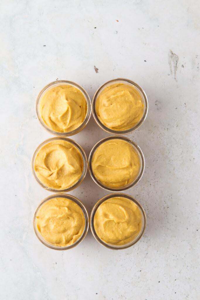 paleo pumpkin cheesecake filling in jars