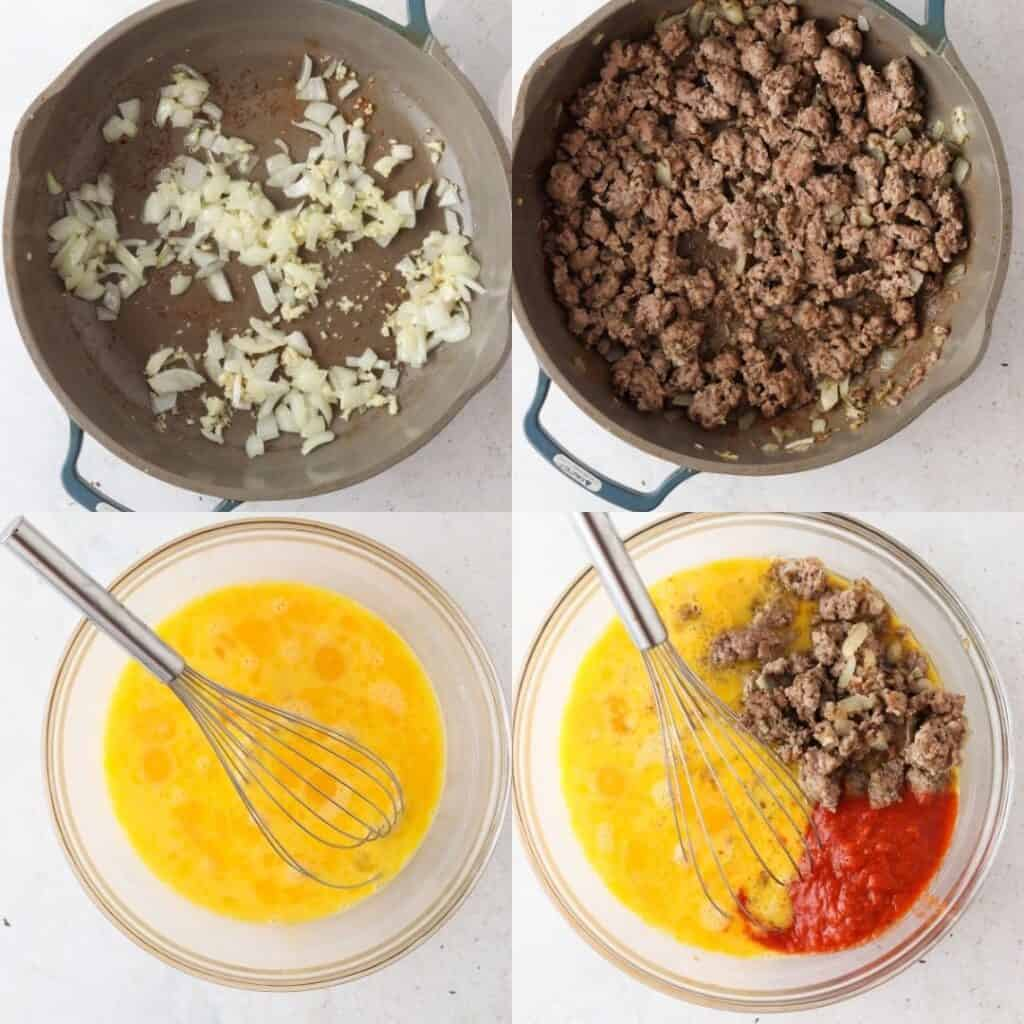 process shots of how to make pizza egg bites