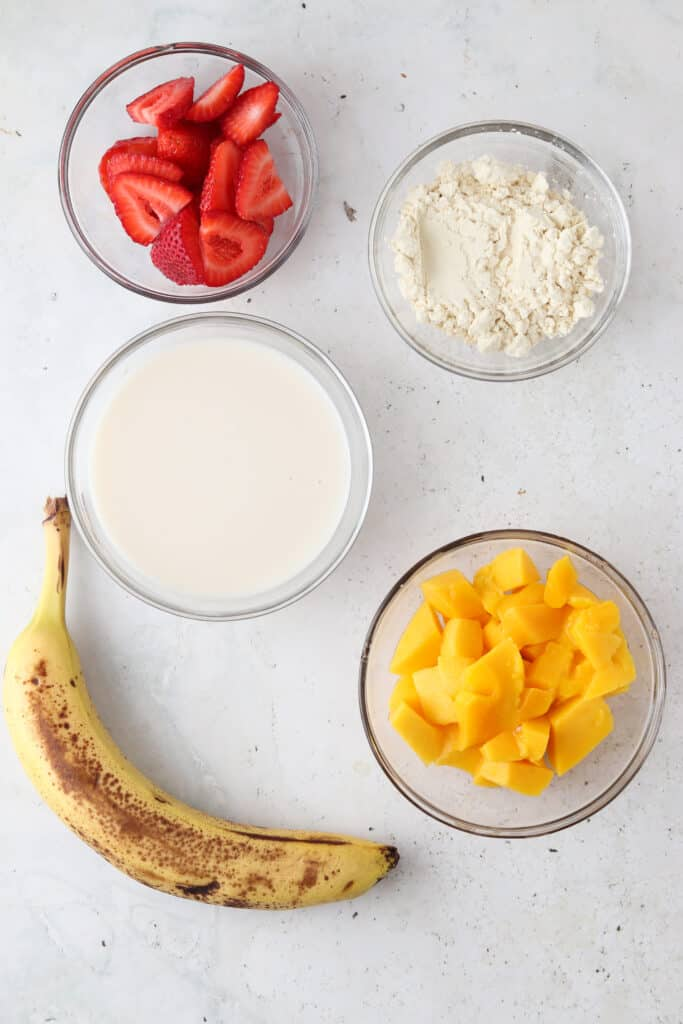 smoothie ingredients laid out