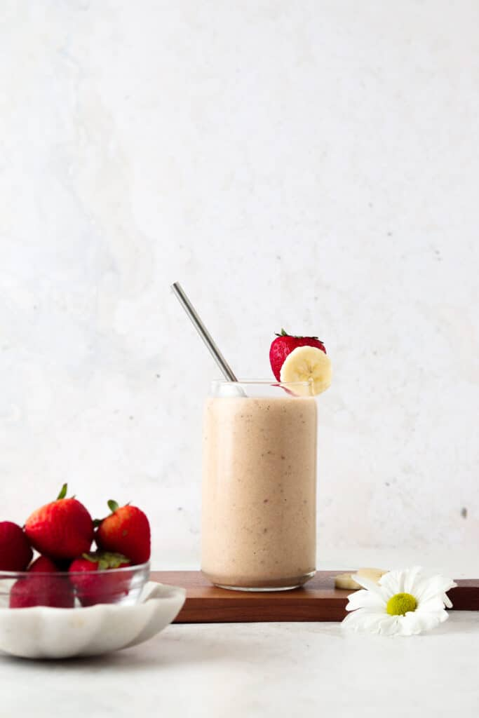 far away shot of a strawberry smoothie with bananas