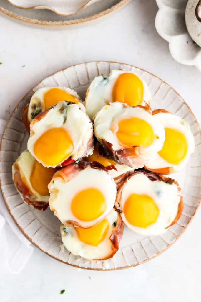 overhead shot of egg cups on a plate