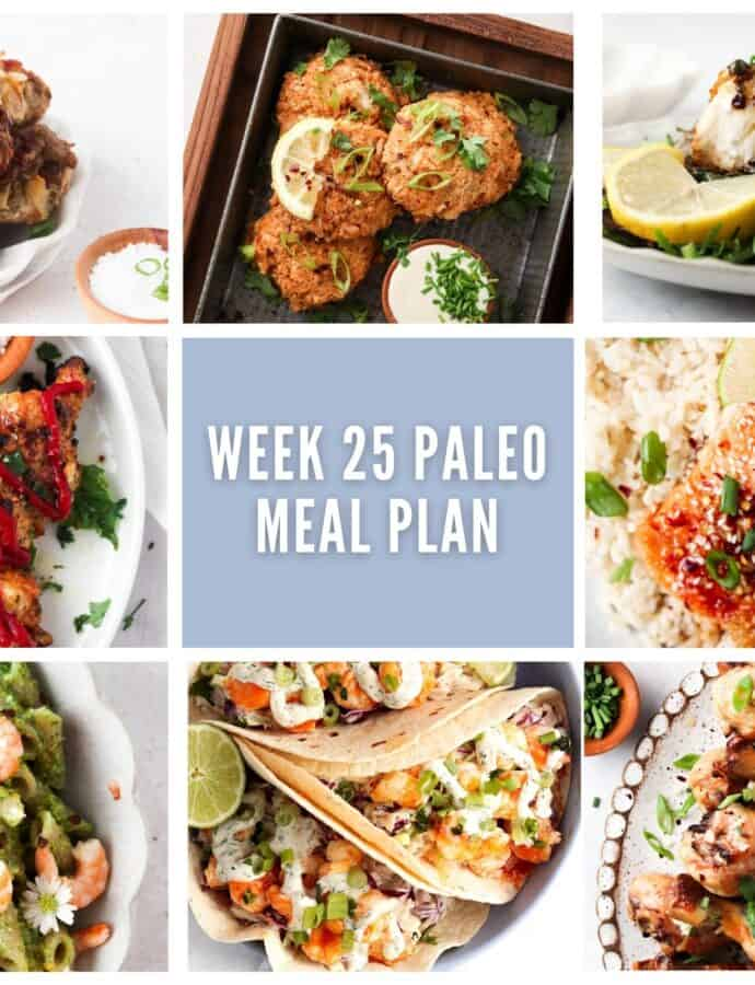 photo collage of complete paleo meal plan with one savory breakfast option and seven lunch or dinner options with lavender accents