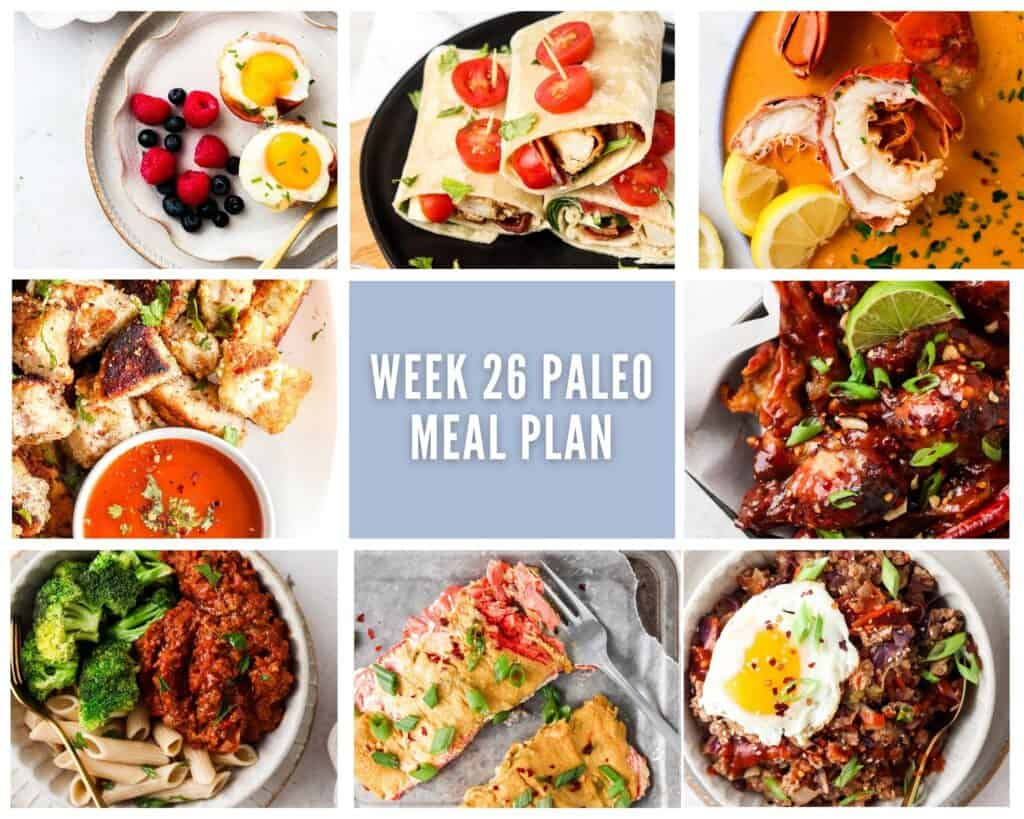 photo collage of one savory breakfast and seven lunch or dinner paleo meals with lavender accents