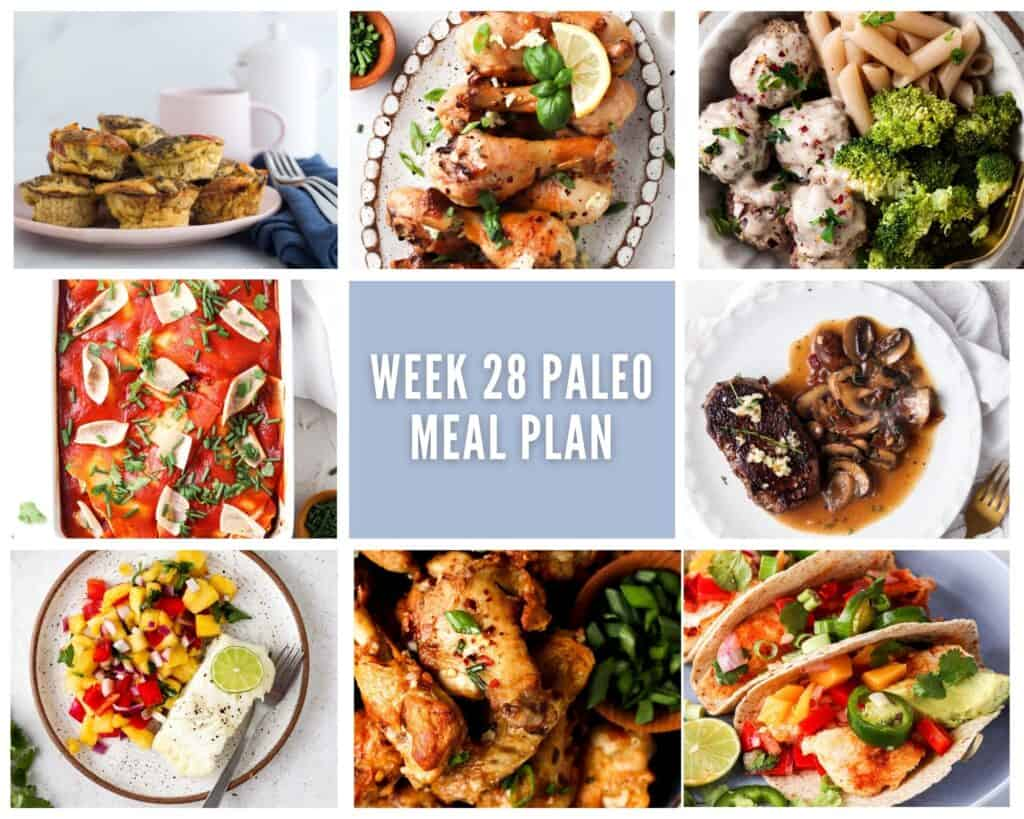 photo collage of one savory breakfast and seven paleo lunch or dinner options with pale purple accent colors