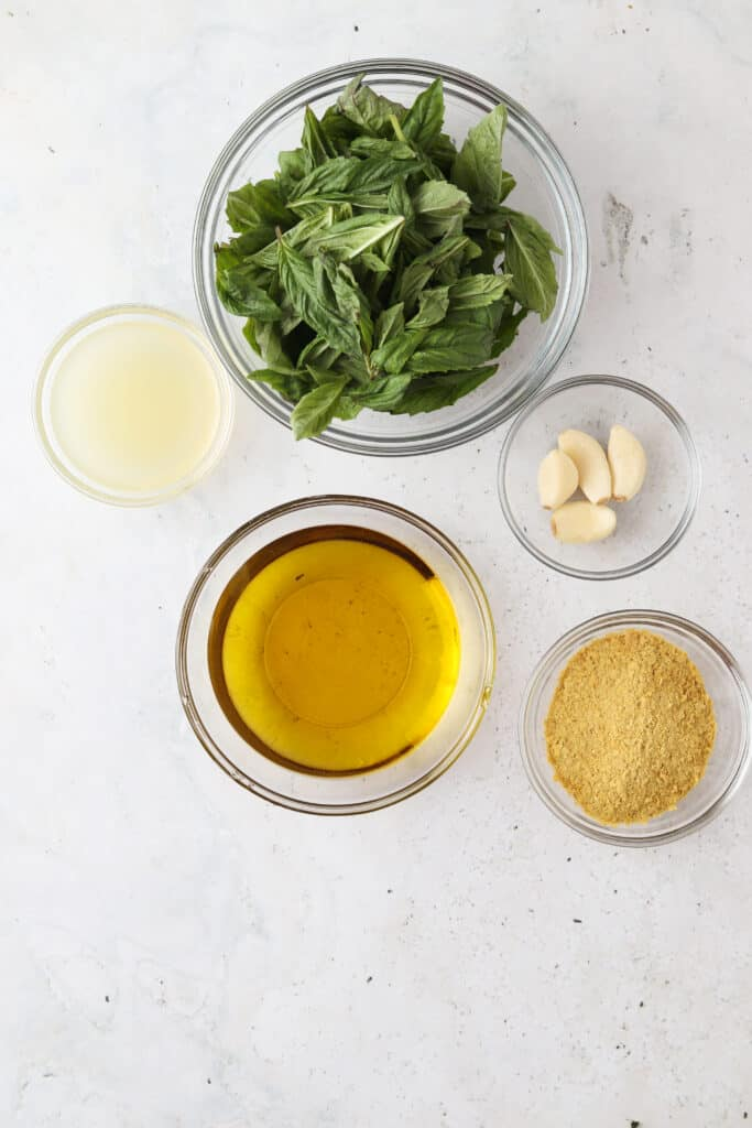 homemade aip pesto ingredients on a tray