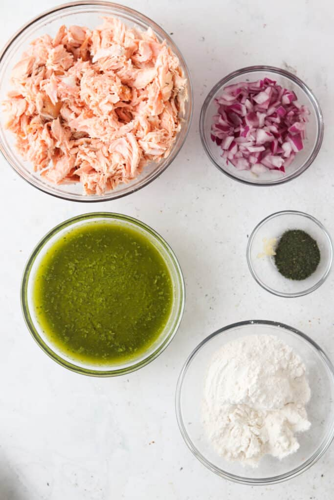 aip salmon cake ingredients in bowls