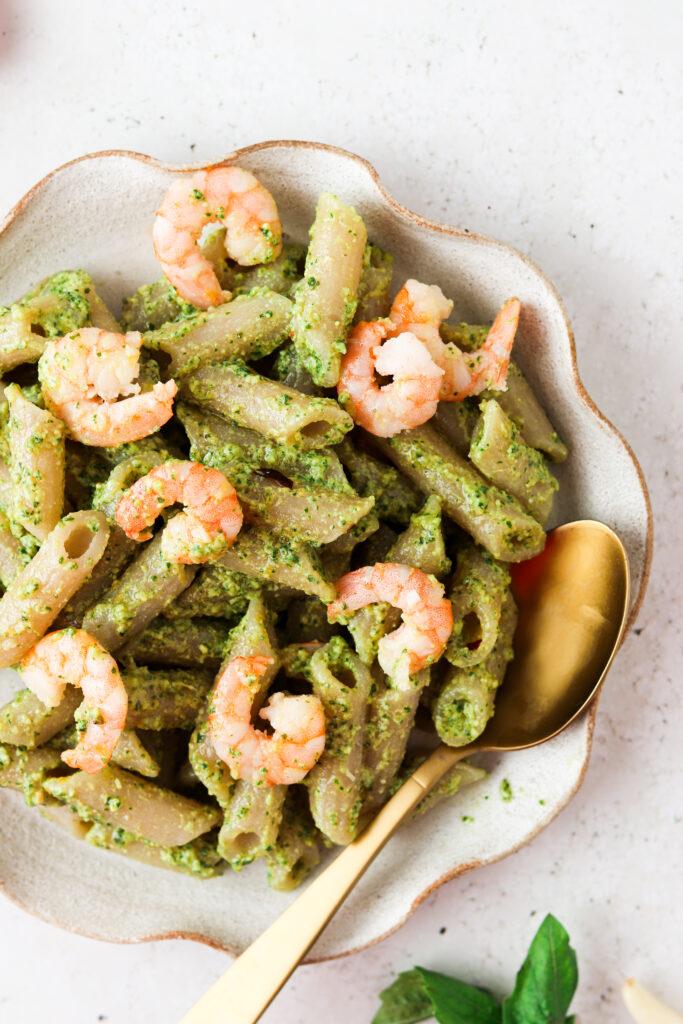 aip shrimp pesto pasta on a plate