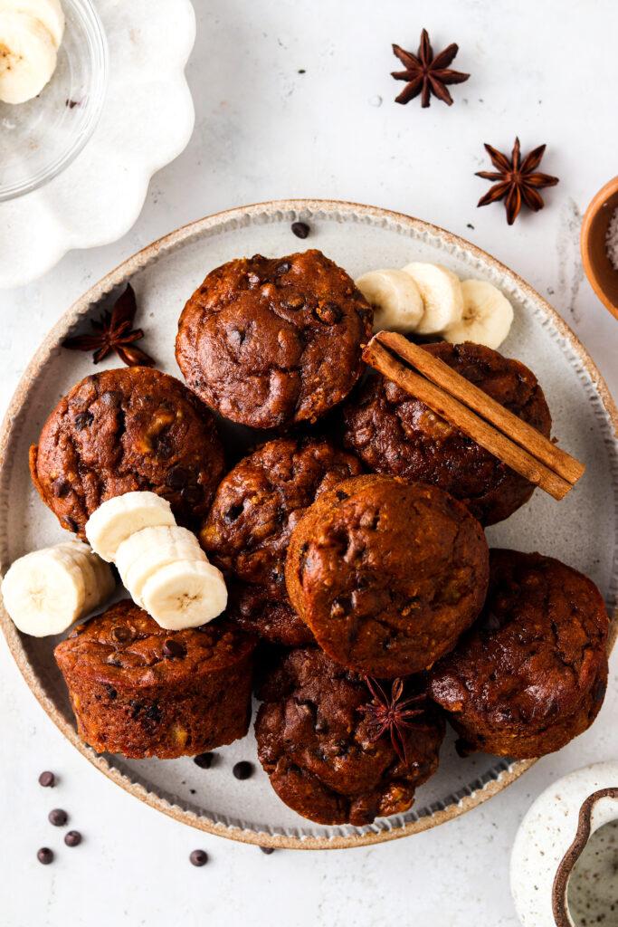 overhead shot of pumpkin flourless muffins