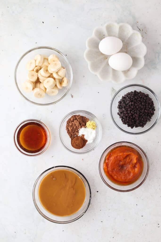 flourless pumpkin muffin ingredients laid out