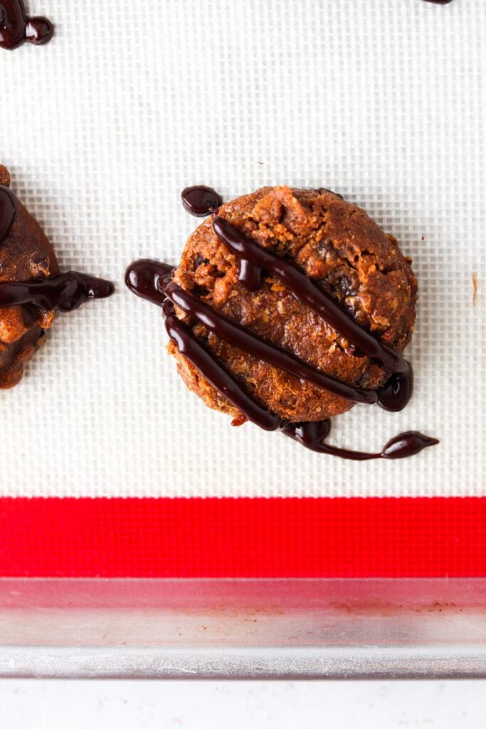 gluten free chocolate chip pumpkin cookies on a baking sheet