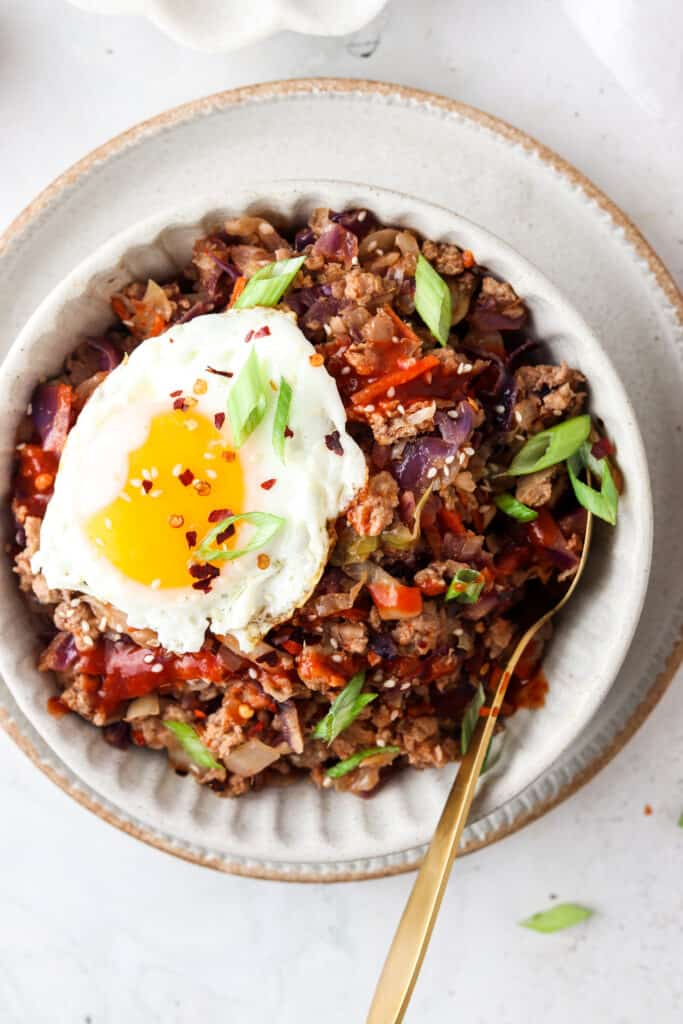 close up of paleo egg roll in a bowl
