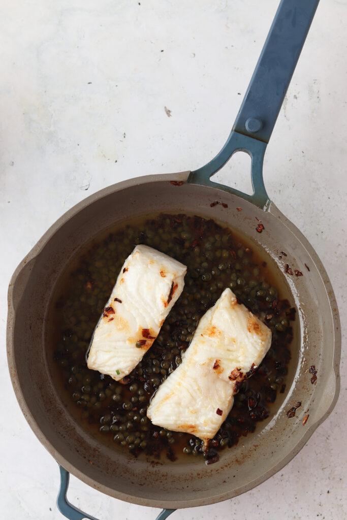 sea bass in a pan