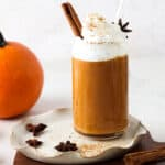 dairy free pumpkin smoothie in a cup