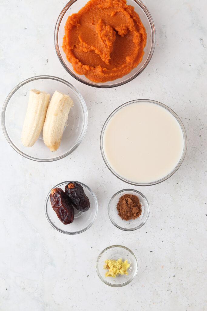 pumpkin pie smoothie ingredients laid out