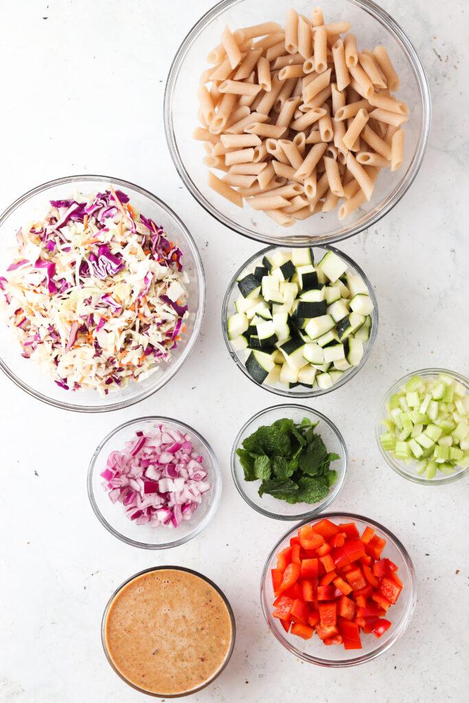 pasta salad ingredients in a bowl