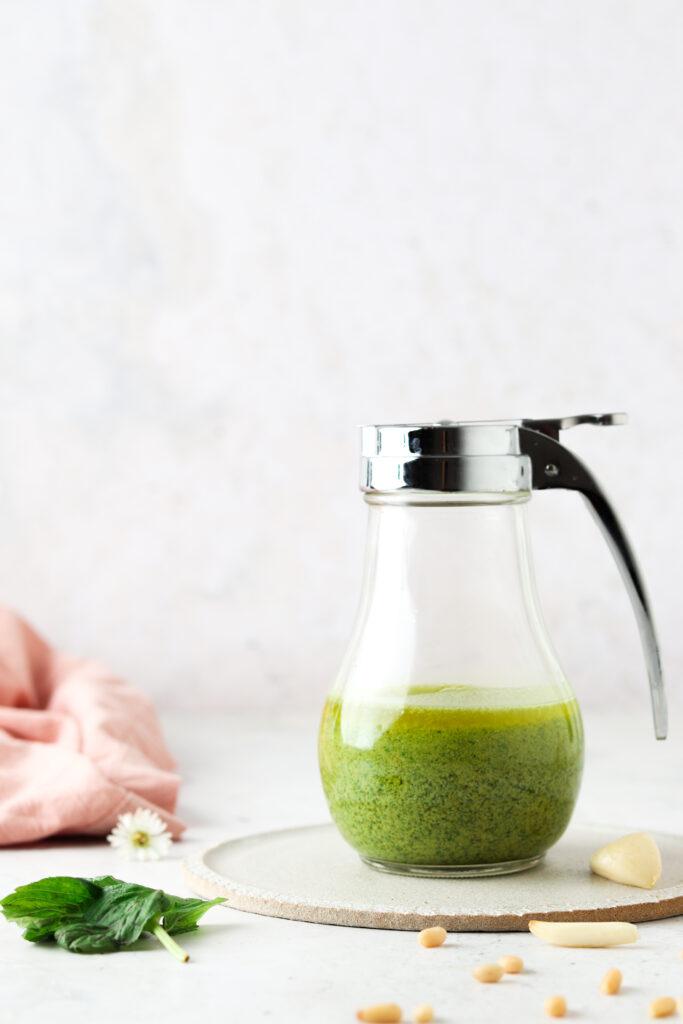 fresh pesto in a jar