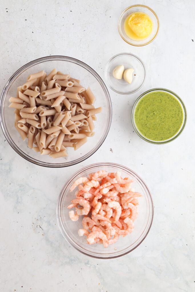 shrimp pesto pasta ingredients laid out