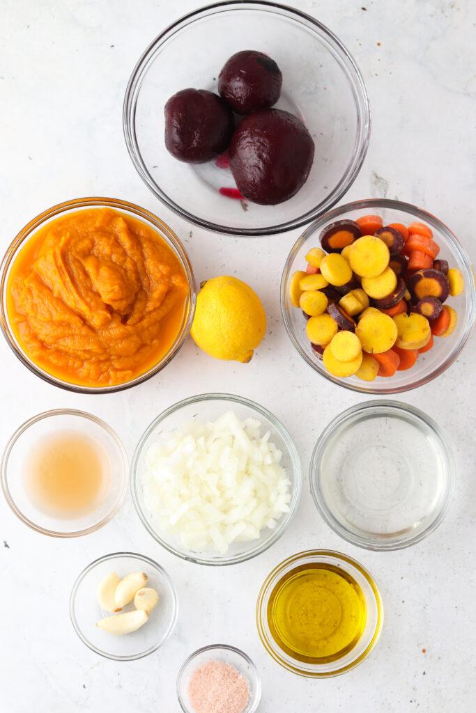nightshade free aip nomato sauce ingredients in bowls