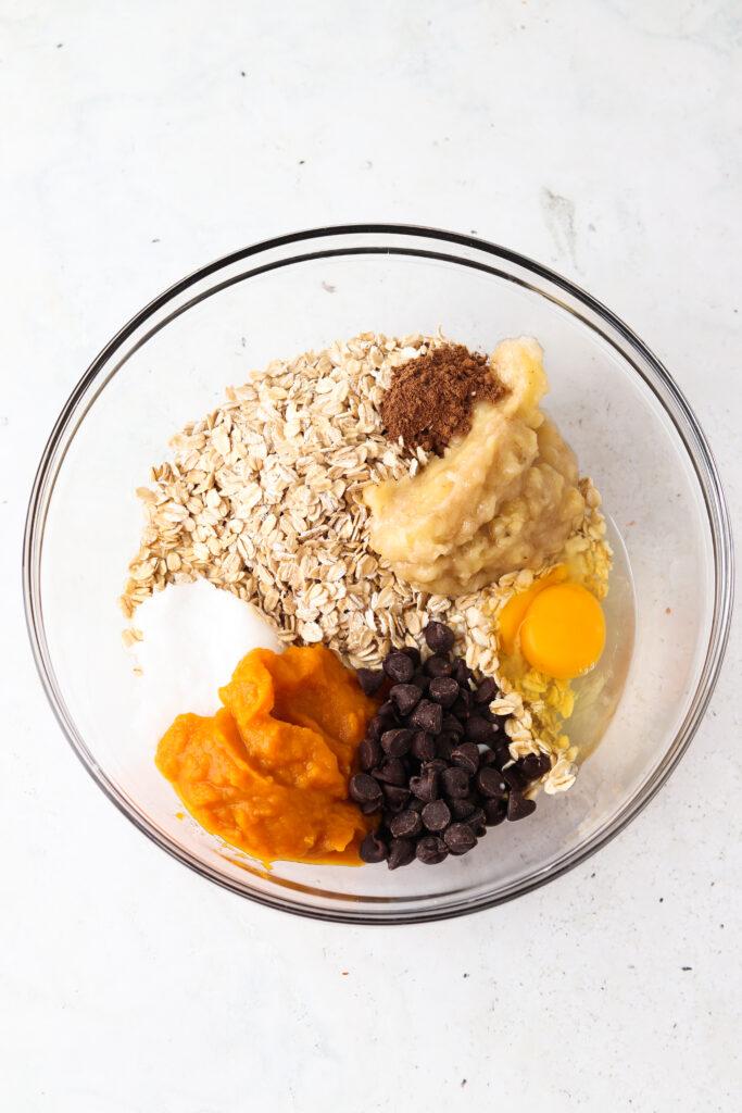 pumpkin baked oatmeal ingredients in a bowl