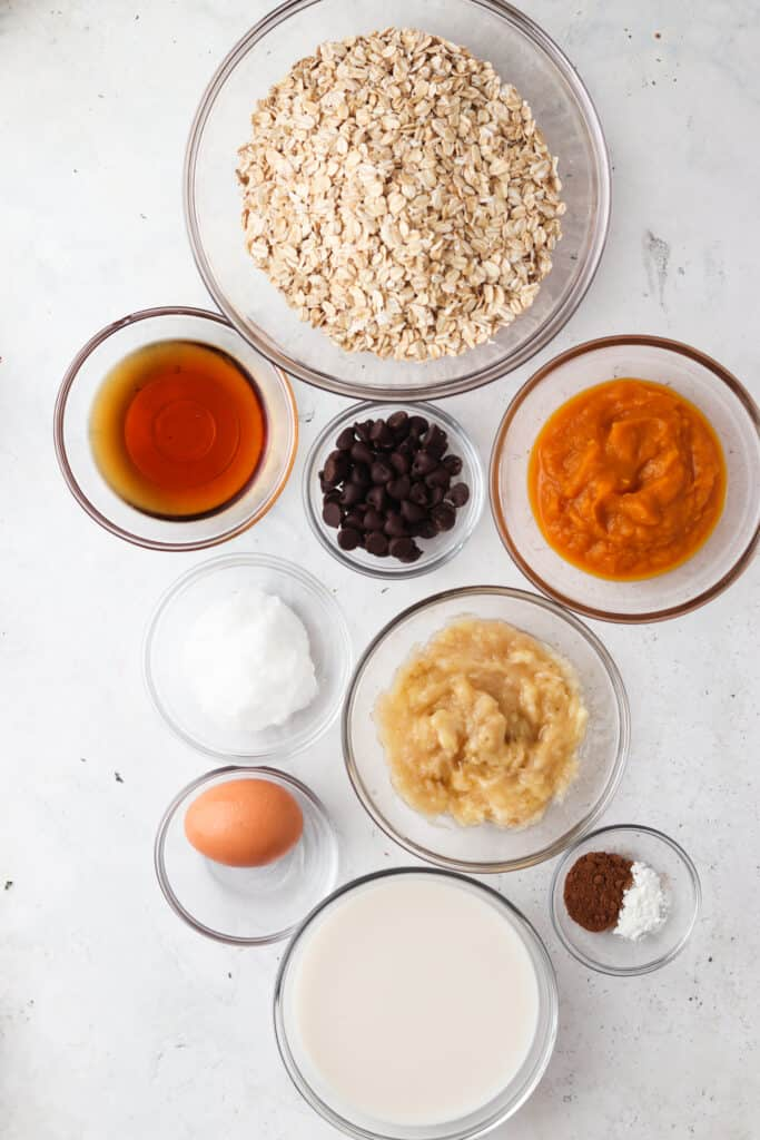 pumpkin baked oatmeal ingredients laid out