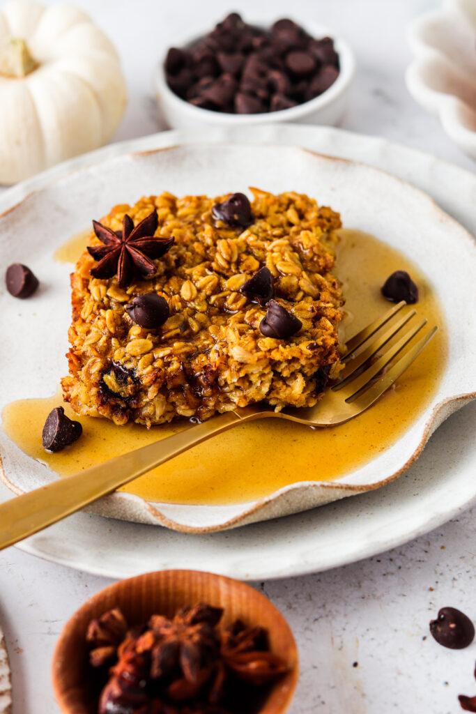 pumpkin baked oatmeal on a plate