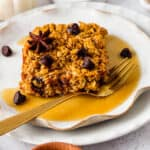 healthy pumpkin oatmeal bake on a plate