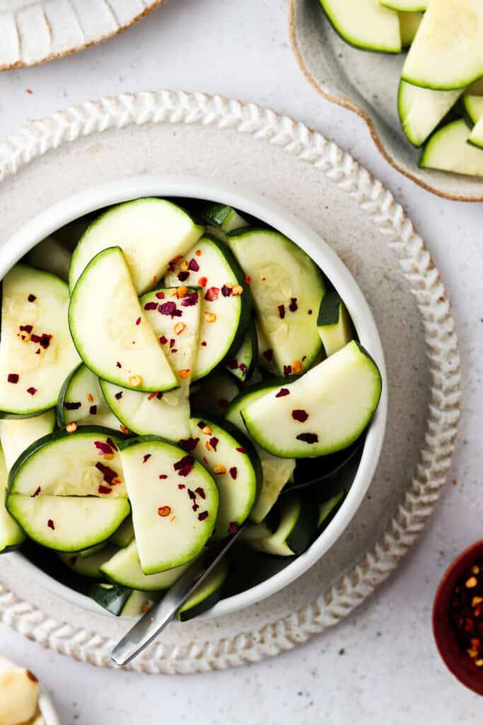 instant pot zucchini with red pepper flakes in a bowl