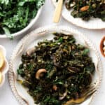 kale and mushrooms in bowls