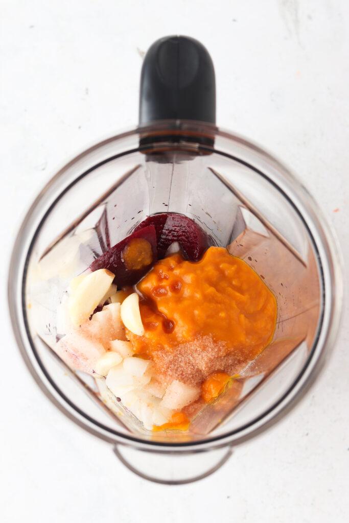 pumpkin ketchup ingredients in a blender