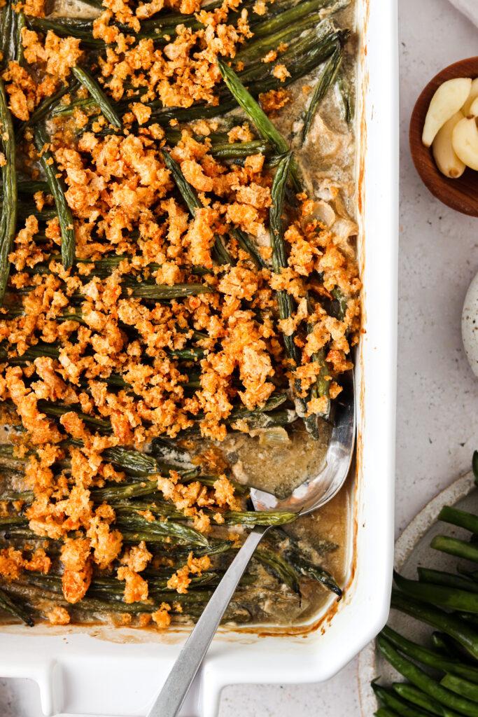 paleo green bean casserole in a baking dish