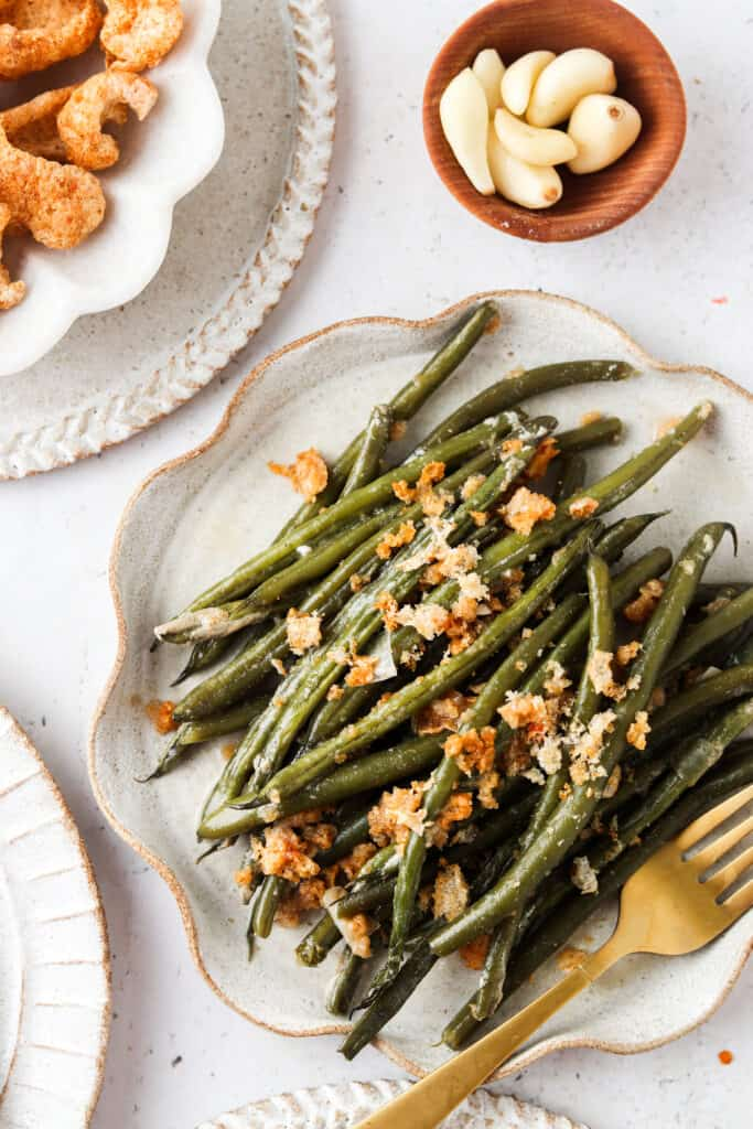 dairy free green bean casserole on a plate