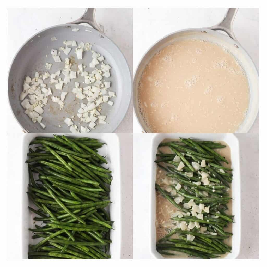 step by step process on how to make keto green bean casserole