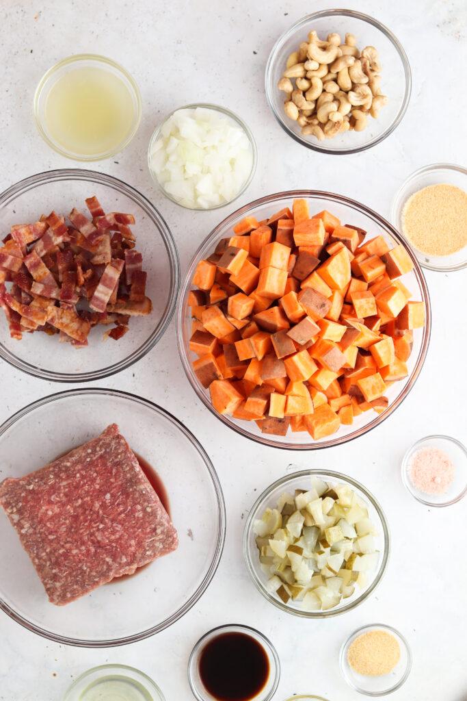 keto big mac casserole ingredients in bowls