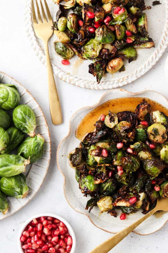overhead shot of brussel sprouts in bowls