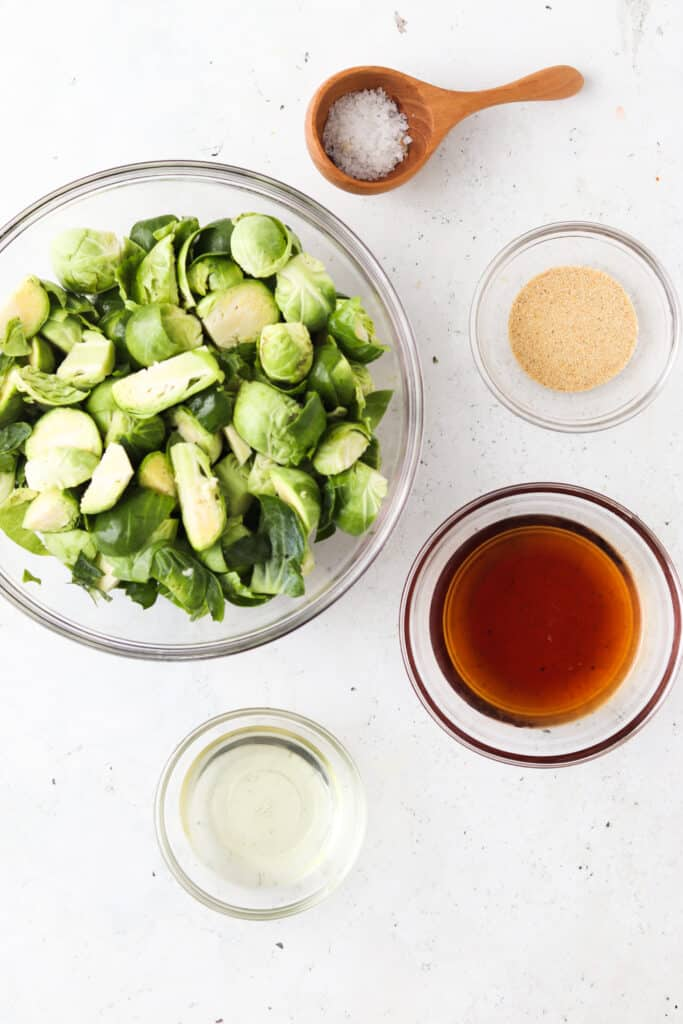 ingredients for maple brussel sprouts in bowls